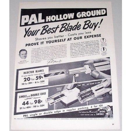 1950 Pal Hollow Ground Razor Blades Shaving Vintage Print Ad