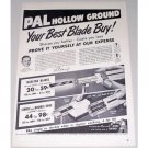 1950 Pal Hollow Ground Razor Blades Shaving Vintage Print Ad