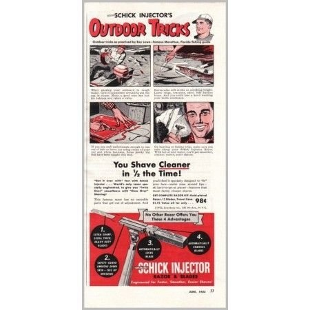 1953 Schick Injector Razor and Blades Color Print Ad - Outdoor Tricks