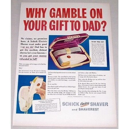 1948 Schick Super Electric Shaver Color Print Ad - Why Gamble