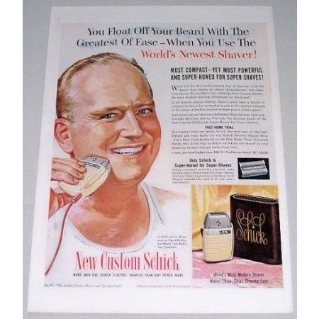 1954 Schick Super-Honed Electric Shaver Color Print Art Ad