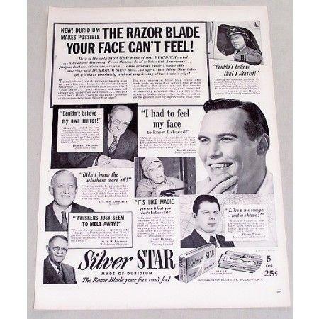 1949 Silver Star Double Edge Razors Shaving Vintage Print Ad
