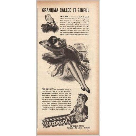 1940 Barbasol Shaving Vintage Print Art Ad - Grandma Called It Sinful