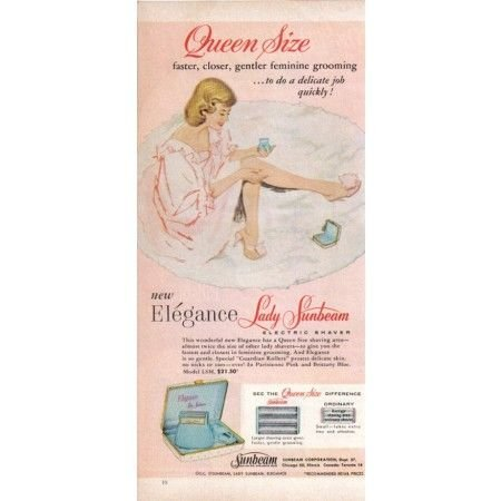 1960 Lady Sunbeam Electric Shaver Color Print Art Ad - Queen Size