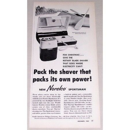 1961 Norelco Sportsman Electric Shaver Vintage Print Ad
