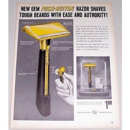 1959 ASR Gem Push Button Shaving Razor Vintage Print Ad