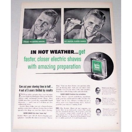 1948 Williams Lectric Shave Vintage Print Ad - In Hot Weather...