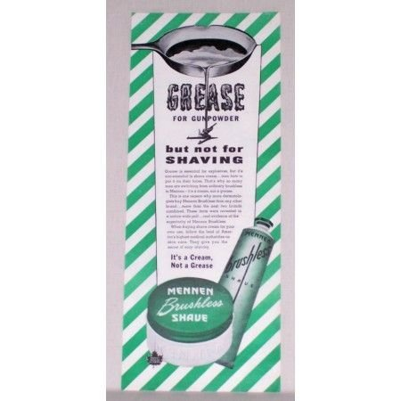 1944 Mennen Brushless Shave Color Print Ad - Grease For Gunpowder