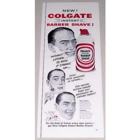 1955 Colgate Instant Barber Shave Color Print Ad
