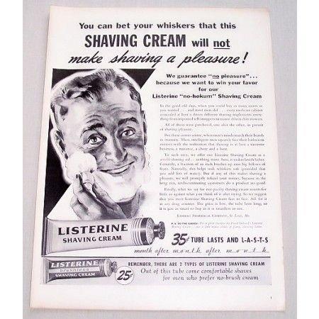 1944 Listerine Shaving Cream Vintage Print Ad - Make Shaving A Pleasure