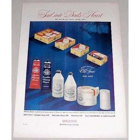 1948 Old Spice Gift Sets Color Print Ad - Sail Into Dads Heart