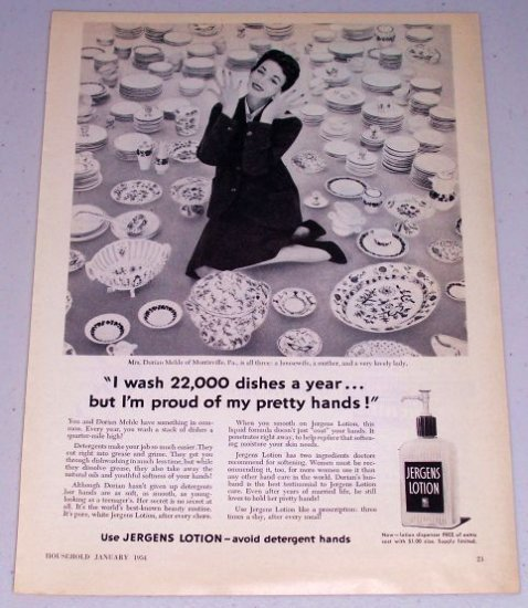 1954 Jergens Lotion Skin Cream Vintage Print Ad Mrs. Dorian Mehle