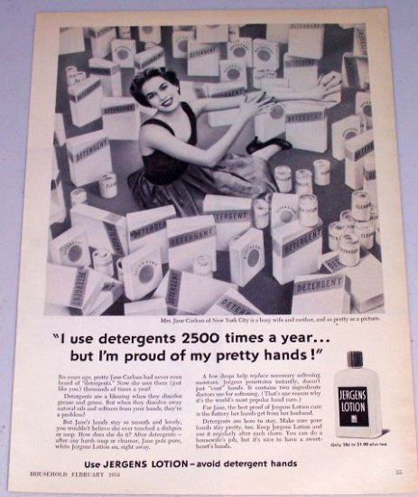 1954 Jergens Lotion Hand Cream Vintage Print Ad Mrs. Jane Carlsan