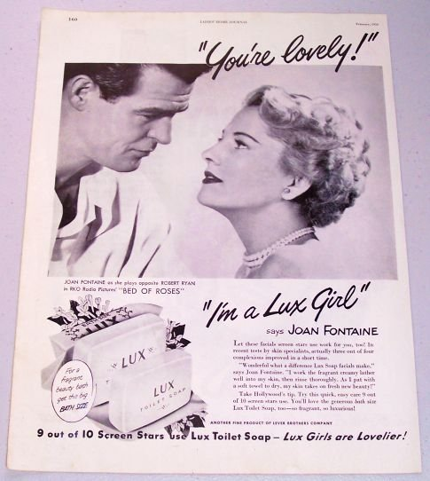1950 Lux Toilet Soap Vintage Print Ad Celebrity Joan Fontaine Robert Ryan