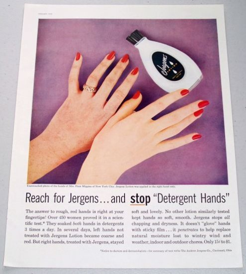 1958 Jergens Hand Lotion Color Print Ad
