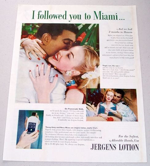 1945 Jergens Lotion Color Print Ad - I Followed You To Miami
