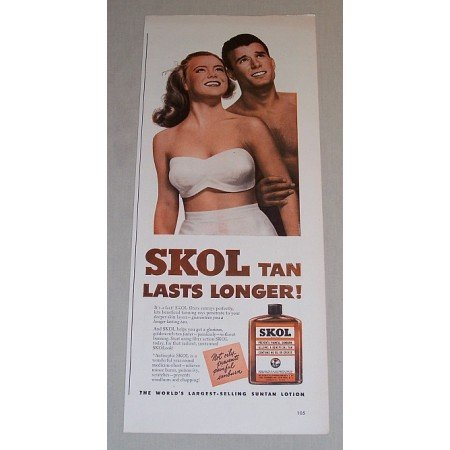 1948 Skol Suntan Lotion Color Print Art Ad - Last Longer!
