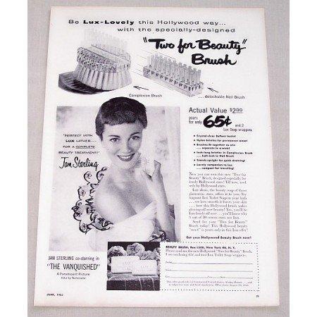 1953 Lux Soap Beauty Brush Offer Vintage Print Ad Celebrity Jan Sterling