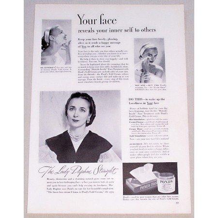 1949 Pond's Cold Cream Vintage Print Ad Lady Daphne