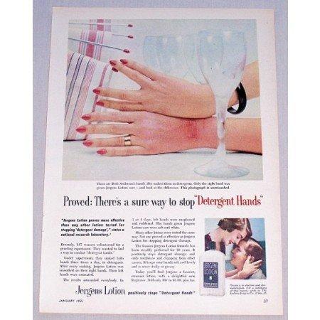 1955 Jergens Lotion Color Print Ad - Detergent Hands