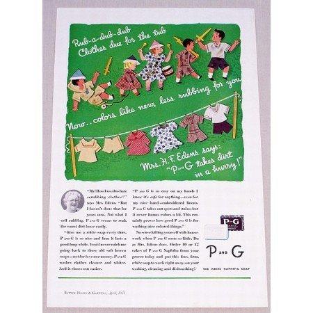 1934 P and G White Naphtha Soap Color Children Art Print Ad - Rub-A-Dub-Dub