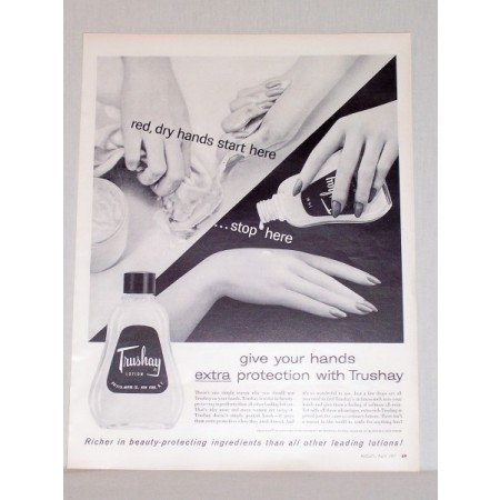1957 Trushay Lotion Vintage Print Ad - Red Dry Hands Stop Here
