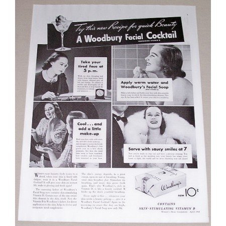 1938 Woodbury Facial Soap Vintage Print Ad - Woodbury Facial Cocktail