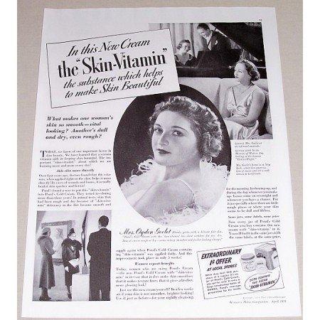 1938 Pond's Cold Cream Vintage Print Ad - The Skin Vitamin