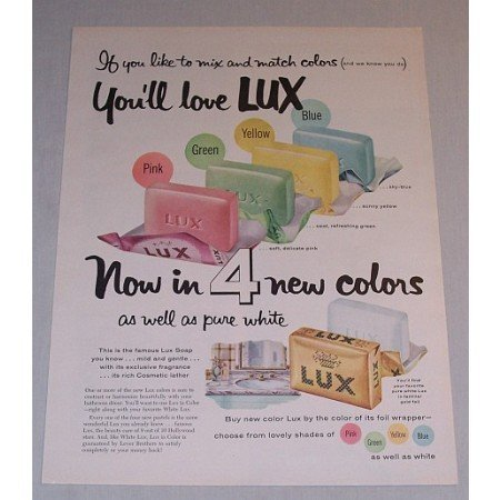 1957 Lux Soap Vintage Color Print Ad - Mix and Match Colors