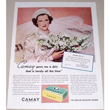 1937 Camay Soap Color Print Ad - Lovely All The Time