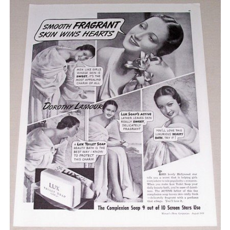 1939 Lux Toilet Soap Vintage Print Ad Celebrity Dorothy Lamour