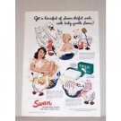 1942 Swan Floating Soap Color Art Print Ad - Swan-derful Suds