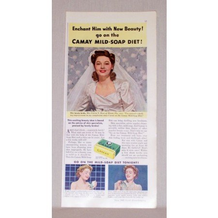 1942 Camay Soap Color Print Ad - Enchant Him With Beauty