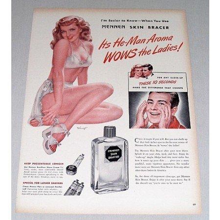 1946 Mennem Skin Bracer Mingo Art Color Print Ad - He-Man Aroma