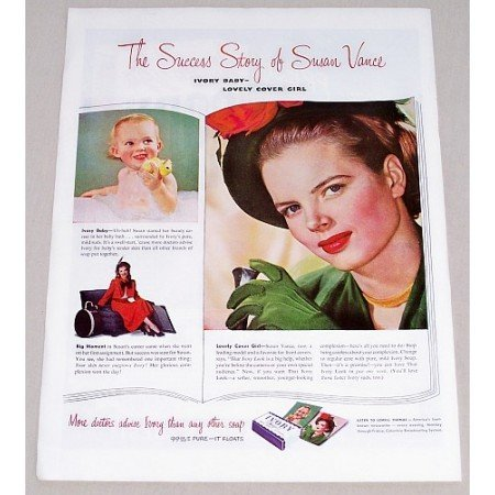 1949 Ivory Soap Color Print Ad Celebrity Susan Vance