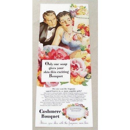 1947 Cashmere Bouquet Soap Color Print Art Ad