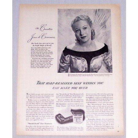 1949 Pond's Cold Cream Vintage Print Ad Countess Jean de Caraman