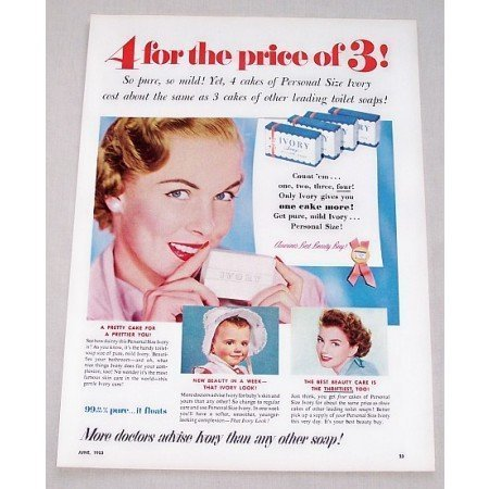 1953 Ivory Soap Vintage Color Print Ad - 4 For The Price Of 3