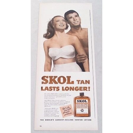 1948 Skol Tanning Oil Vintage Color Print Ad - Tan Last Longer