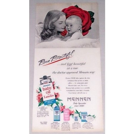 1952 Mennen Baby Oil Vintage Color Print Ad - Born Beautiful