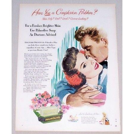 1949 Palmolive Soap Color Print Art Ad - Complexion Problem?