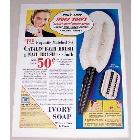 1939 Ivory Soap Catalin Bath Brush Offer Color Print Ad