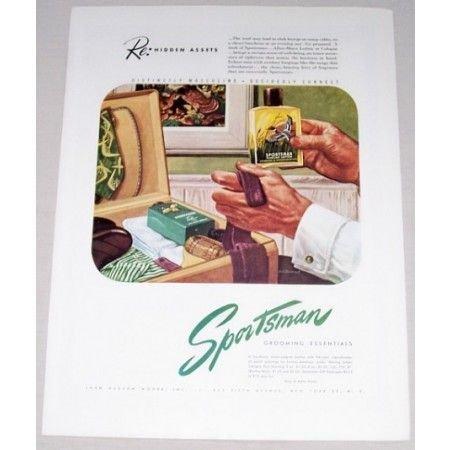 1946 Sportsman Grooming Essentials Color Print Ad