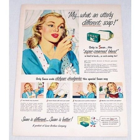 1947 Swan Soap Color Print Art Ad - Utterly Different