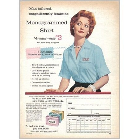 1959 Dial Soap Monogrammed Shirt Offer Color Print Ad