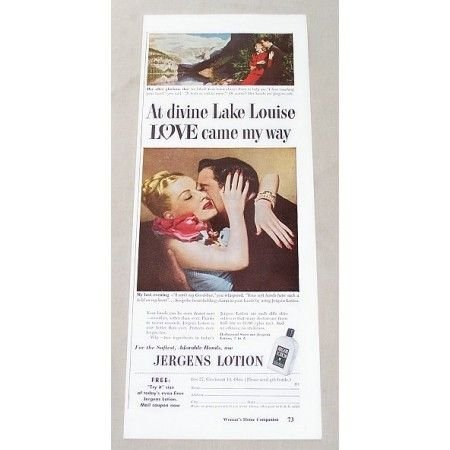 1947 Jergens Lotion Color Print Ad - Divine Lake Louise