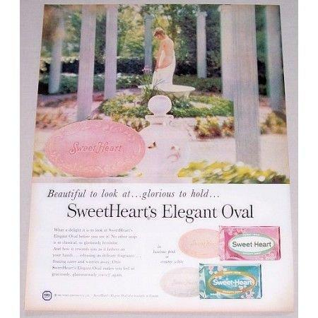 1958 Sweetheart's Beauty Soap Color Print Ad - Elegant Oval