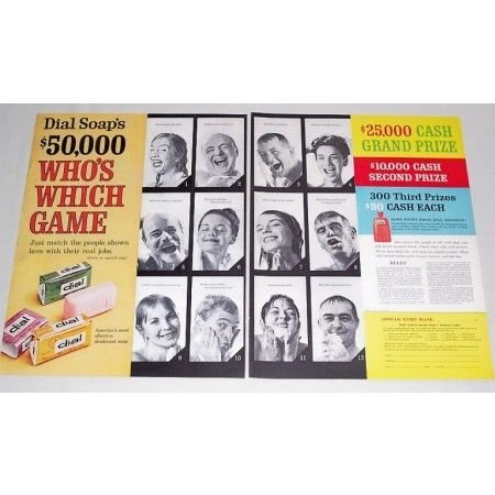 1961 Dial Soap 2 Page Color Print Ad - Who's Which Game