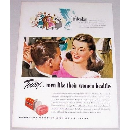 1947 Lifebuoy Health Soap Art Color Print Ad - Men Like Women Healthy