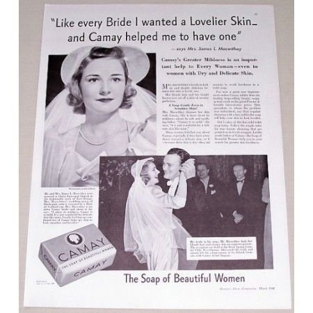 1941 Camay Soap Vintage Print Ad - Like Every Bride...